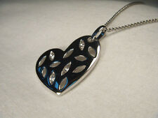 Gorgeous Estate 14K White Gold Diamond Heart Filigree Pendant Necklace