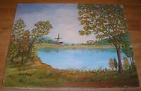 AMERICANA VINTAGE FOLK ART PRIMITIVE SUMMER AUTUMN WINDMILL HOUSE OIL PAINTING