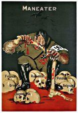 War Art Poster Aldolf  Hitler Maneater Europe  Print