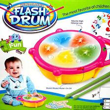 electrónico Bebé Niños Juguete Música Drum Tambor Tambores LED + 2 Sticks