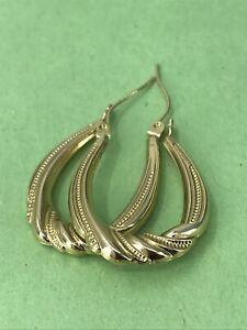 """14k YG Gold Hoop Medium 1"""" Earrings Preowned 1.5 Grams"""