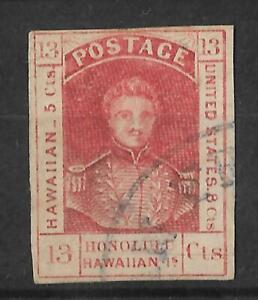 HAWAII #6 SCARCE USED 13c Red CV$1,700
