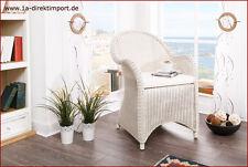 Toller Rattansessel weiß, Sessel Armlehnstuhl mit Rattan, antikweiß, Shabby