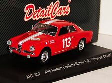 ALFA ROMEO GIULIETTA SPRINT #113 TOUR DE CORSE 1957 DETAIL CARS ART 367 1/43