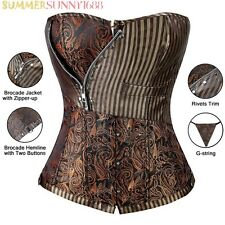 Sexy Brocade Women's Corset Laced Up Top Steampunk Waist Trainer Body Shaper L