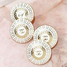 Chanel Buttons 4pc CC White & Gold 22mm Unstamped Vintage Style 4 Buttons AUTH!!