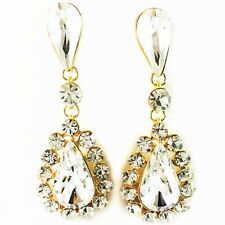 USA EARRING fashion Swarovski ELM Crystal flower Dangle Gold Plated Clear silver