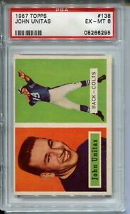 1957 Topps Football #138 John Johnny Unitas Rookie Card RC Graded PSA EX MINT 6