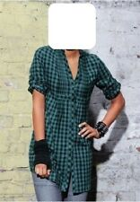 Bluse Gr. 40 Damen Longbluse grün schwarz kariert Langarm 100% Baumwolle ARIZONA