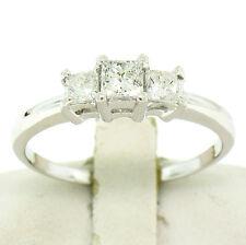 Solid .950 Platinum 0.75ctw Princess Cut Diamond Three Stone Engagement Ring