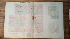 -Antique Colored MAP - SEDGWICK COUNTY + MOUNT HOPE & DERBY - 1887 KANSAS ATLAS