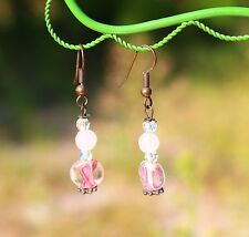 Pink ribbon cancer awareness crystal faceted pink rose quartz dangle   EARRINGS
