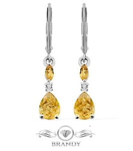 Brandy® Natural Citrine & Topaz Platinum Silver Marquise Teardrop Dangle Earring