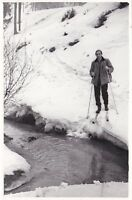 1960s Handsome man on skis in snowy forest stream fashion Soviet Russian photo
