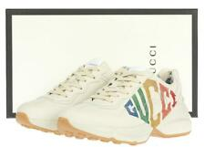 NEW GUCCI LADIES RHYTON IVORY LEATHER LOGO SNEAKERS SHOES 40 G/US 10