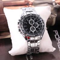 Luxus Herren Edelstahl Armbanduhr Sport Quartz Analog Uhren Geschenk Kits new