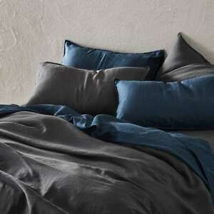linen flat sheet, king size blue