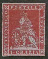 ITALIAN STATES: TUSCANY 1851 1 cr. n.4a F-VF MNG Mint No Gum cat. $ 5,000