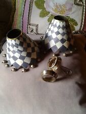 Mackenzie Childs Chandelier Checkered Shades  Shade Clips Not Included