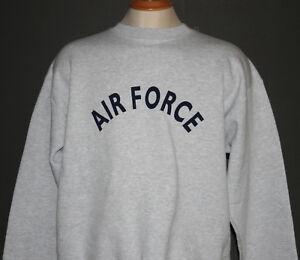 "U S AIR FORCE CREWNECK SWEATSHIRT ""AIR FORCE"" - GREY HEATHER - XS-XL - BRAND NEW"