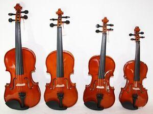 massive Geige Violine + Koffer & Bogen versch. Größen Anfänger / Schülergeige