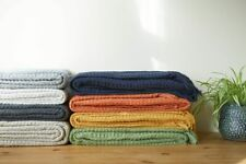 100% Cotton Waffle Style Woven Sofa / Bed Throw in 6 Sizes + Giant Jumbo Size