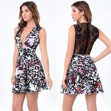 $159 NWT bebe black lace back fit flare printed deep v neck top dress XXS 00 0