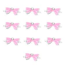 10pcs Pink 3D Rhinestones Nail/Phone Art Bow Tie DIY Decoration S*