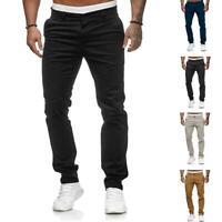 Men's Slim Urban Straight Leg Trousers Casual Pencil Long Cargo Pants New