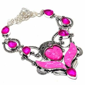 """Flying Goddess - Pink Turquoise, Rubellite Gemstone Jewelry Necklace 18"""" ZN-905"""