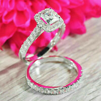 1.50 ct Princess Cut Diamond 14k White Gold Over Bridal Set Halo Engagement Ring