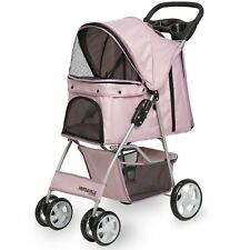 Pet Stroller Cat Dog 4 Wheel Walk Stroller Travel Folding Carrier PINK