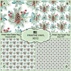 Christmas Holly snd berries Patterned Heat Transfer Vinyl, Adhesive Vinyl X012