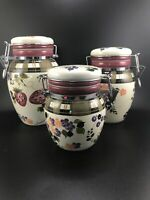 ABSOLUTELY BEAUTIFUL Set of 5 Oneida Strawberry Plaid Canister Set