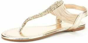 Women's Summer Elastic Flat Gladiator Strappy String Thong Ankle Strap Sandals