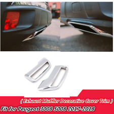 ABS Car Accessories Exhaust Muffler Decor Trim for Peugeot 3008 5008 2017-2018