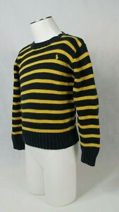 POLO Ralph Lauren Boys Crew neck Striped Navy Yellow Sweater Size (5) (XS)