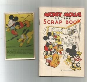 1930s WDE Mickey Mouse Recipe scrap Book w/3 recipe pictures-Bakery giveaway