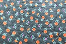 Vintage 1960s-1970s Pre-Quilted Reversible Cotton Print Fabric, Double Sided
