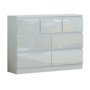 Extra Large White High Gloss 7 Drawer Merchant Chest. Modern Style. Matt Frame