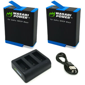 Wasabi Power Battery (2-Pack) & Triple Charger for GoPro HERO10, HERO9 Black