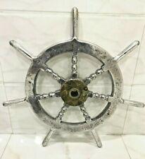 rare Nautical Vintage Marine Aluminium ship Steering Wheel 100% original
