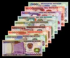 Set of 9Pcs Banknotes,Mozambique 500~500000 Meticais,1991~2003,P-134~P-142,UNC