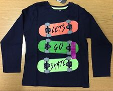 Boys Navy Long Sleeve T Shirt with Lets Go Skate detail