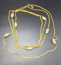 """Miriam Haskell Vintage Gold Plated Brass & Faux Pearl Long Chain Necklace 62"""""""