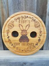 Easter Themed Dippy Egg Board Bunny Wreath Design Personalised Bamboo Board Gift