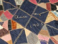"Antique 1905 Vintage SILK CRAZY star QUILT Feather Stitch Embroidery 75"" X 71"""