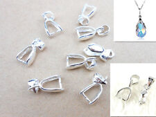 10PCS S 925 Sterling Silver Bail Connector Bale Pinch Clasp Pendant Fittings