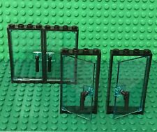 Lego X4 Trans-light Blue Glass Door W/ Black Frame 1x4x6 W/ Nozzle Handle Holder