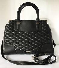 New Rebecca Minkoff Quilted Black Leather Satchel W/ Strap Handbag Purse
